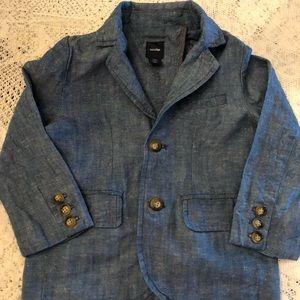 Baby Gap 3t boys chambray/linen blazer quality EUC